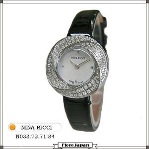 ニナリッチ NINA RICCI レディース腕時計 ダイヤベゼル N033.72.71.84 ホワイトパール文字盤  ブラック革ベルト クオーツ|flore