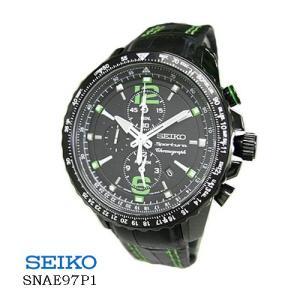 セイコー 腕時計 SEIKO  SNAE97P1 スポーチュラ アラム クロノ  黒文字盤  黒革ベルト クオーツ メンズ |flore
