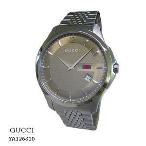 グッチ GUCCI 腕時計  YA126310  ブラウン文字盤 SSベルト クオーツ メンズ|flore