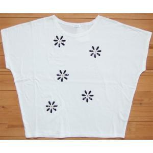 MINELAL ミネラル nappalm 花ビジューカットソー ホワイト プルオーバー Tシャツ クルーネック 103027389 flossy