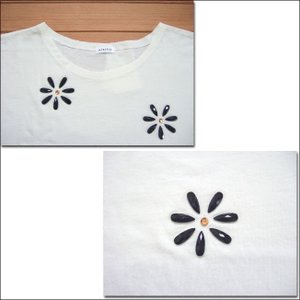 MINELAL ミネラル nappalm 花ビジューカットソー ホワイト プルオーバー Tシャツ クルーネック 103027389 flossy 02