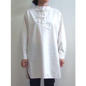 D.M.G ドミンゴ DMG 16-530T 31-1 スリーピングシャツ スタンドカラーシャツ タッサー ワンピース ホワイト 倉敷 児島 日本製 MadeinJAPAN flossy