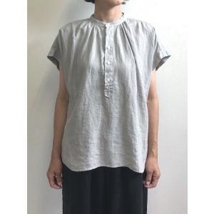 D.M.G ドミンゴ DMG 16-547L 12-1 S/Sスタンドシャツ ライトグレー フレンチリネン リネンキャンバス シャツ 麻 MadeinJAPAN 日本製|flossy