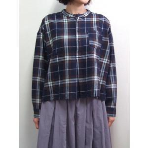 D.M.G ドミンゴ DMG 16-608T 29-8 スタンドカラーシャツ フランネル チェック ネイビー MadeinJAPAN 日本製|flossy
