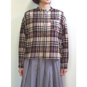 D.M.G ドミンゴ DMG 16-608T 37-8 スタンドカラーシャツ フランネル チェック ブラウン MadeinJAPAN 日本製|flossy