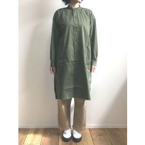 D.M.G ドミンゴ DMG 16-632T 48-8 バットダイポプリンオーバーシャツ オリーブ ワンピース MadeinJAPAN 日本製|flossy