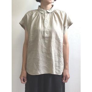 D.M.G ドミンゴ DMG 16-642L 34-2 S/Sレギュラーカラーシャツ ベージュ フレンチリネン リネンキャンバス シャツ 麻 MadeinJAPAN 日本製|flossy