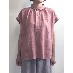 D.M.G ドミンゴ DMG 16-642L 62-2 S/Sレギュラーカラーシャツ ライトピンク フレンチリネン リネンキャンバス シャツ 麻 MadeinJAPAN 日本製|flossy
