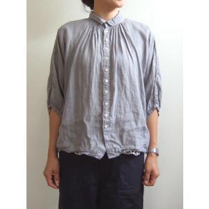 Brocante ブロカント ドミンゴ 38-042L 15-2 グランシャツ サンドグレー リネンキャンバス 麻 ドルマン ギャザー 5分袖 送料無料 Made in JAPAN 日本製|flossy