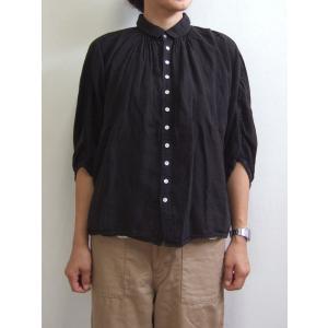 Brocante ブロカント ドミンゴ 38-042L 19-2 グランシャツ ブラック リネンキャンバス 麻 ドルマン ギャザー 5分袖 送料無料 Made in JAPAN 日本製|flossy