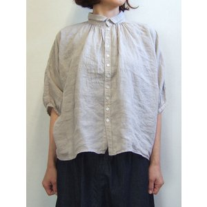Brocante ブロカント ドミンゴ 38-042L 33-3 グランシャツ ベージュ リネンキャンバス 麻 ドルマン ギャザー 5分袖 Made in JAPAN 日本製|flossy