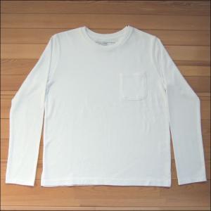 m.m.o. ポケット付バスクシャツ ホワイト バスクTシャツ カットソー Tシャツ ロンT TEE 無地 長袖|flossy