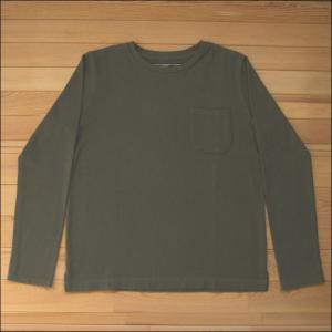 m.m.o. ポケット付バスクシャツ カーキグリーン バスクTシャツ カットソー Tシャツ ロンT TEE 無地 長袖|flossy