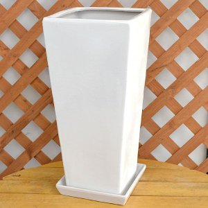 ロングスクエア陶器鉢M ホワイト 8号サイズ