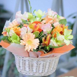 花 ギフト 誕生日花 アレンジメント オレンジシーズン  お祝い 花 おしゃれ 翌日配達 お見舞い 退院祝い flower