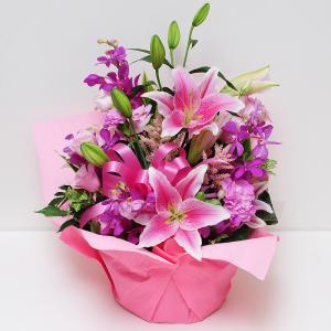 花 ギフト 誕生日の花 ピンクの百合 ピンクリリー アレンジメント 翌日配達  ユリ ゆり|flower
