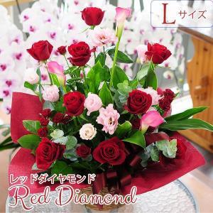 誕生日ギフト 赤いバラ  生花 アレンジメント レッドダイヤモンド Lサイズ バラプレゼント|flower