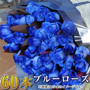 バラ 花束 青 薔薇 青いバラ60本花束  誕生日花ギフト ブルーローズ プレゼント|flower