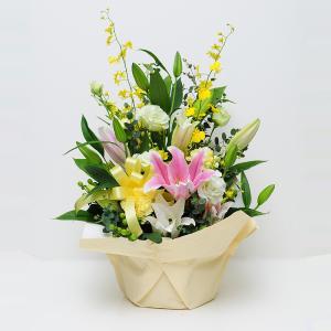 誕生日の花 アレンジメント ユリ 百合 ピンク&ホワイトリリーアレンジメント|flower