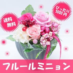 枯れない花 ギフト  花 ギフト プリザーブドフラワー プレゼント 贈り物 フルールミニョン クリアケース付き  ブリザーブドフラワー|flower