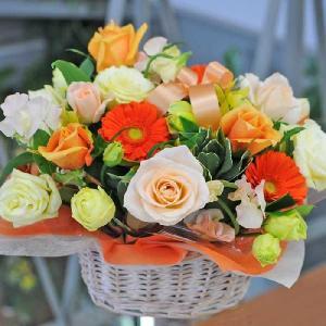 花 ギフト お見舞い 退院祝い ビタミンカラー 花 アレンジメント オレンジ イエロー ミックス 翌日配達|flower