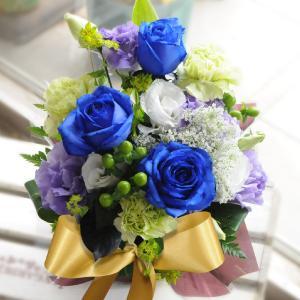 青いバラ ブルーローズ アレンジメント ミラクルブルー 生花 プレゼント誕生日|flower