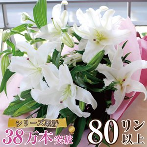 花束ギフト フラワーギフト 白ユリの花束80輪   誕生日 ゆり 百合 翌日配達|flower