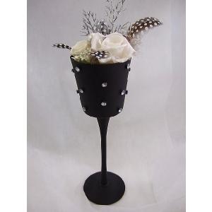 ガラスのスタンドにプリザーブドフラワーの贈り物|flowerelegance