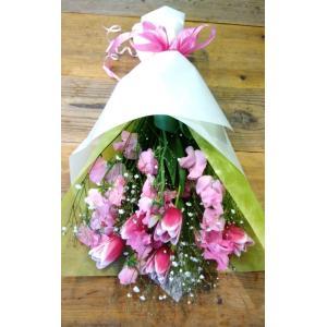 花束 チューリップとスウィートピーの花束 長い形 送料無料