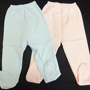 Babidu (バビドゥ) 足付きパンツ(3ヶ月/6ヶ月)[ブルー/ピンク] 靴下付き ズボン 出産祝い 出産準備 ベビー 肌着 インナー 正規品 インポート|flowerkids