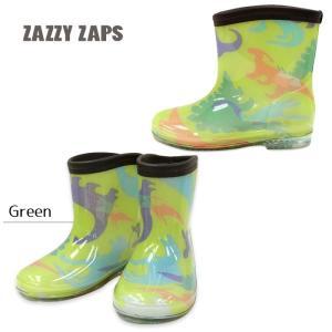 2020年新入荷 長靴 レインシューズ  レインブーツ  恐竜柄 グリーン 13cm 〜18cm 長靴  通園  通学 キッズ  男の子  男児 ZAZZY ZAPS flowerkids