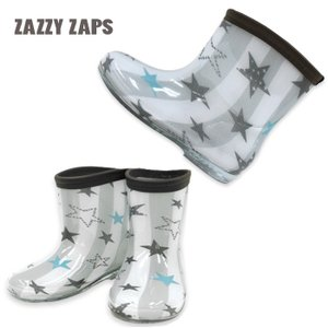 2020年新入荷 長靴 レインシューズ  レインブーツ  星柄 ストライプスター グレー 14cm 〜20cm 長靴 かわいい 通園 キッズ  男の子  男児 ZAZZY ZAPS flowerkids