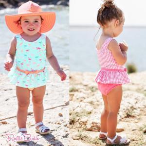 【送料無料】2020年モデル 女の子 水着 Ruffle Butts(ラッフルバッツ)ワンピース  フラミンゴ柄/ローズギンガムチェック 90cm 95cm ベビー水着|flowerkids
