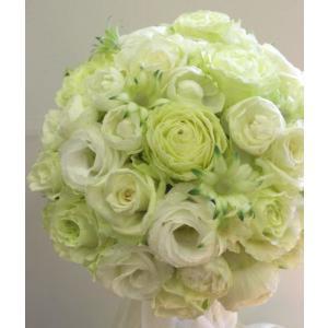 【ウエディングブーケ】ホワイトライムのラウンドブーケ|flowerliberte