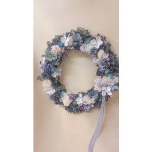 シャビーシック ブルーリース Lサイズ 38cm 青と白のお花のリース|flowerliberte