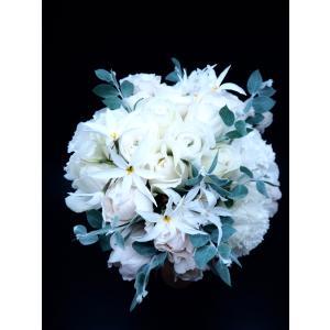 【ウエディングブーケ】白バラのラウンドブーケ|flowerliberte