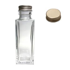 HARU COLLE 浮游花向け用品 角柱ガラスボトル ネジ式ゴールドキャップ ハーバリウム用透明ボトル 100ml空瓶|flowernana