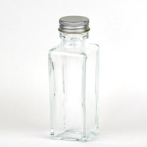 HARU COLLE 浮游花向け用品 角柱ガラスボトル ネジ式シルバーキャップ ハーバリウム用透明ボトル 100ml空瓶|flowernana