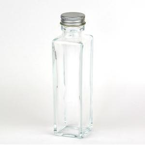 HARU COLLE 浮游花向け用品 角柱ガラスボトル ネジ式シルバーキャップ ハーバリウム用透明ボトル 150ml空瓶|flowernana