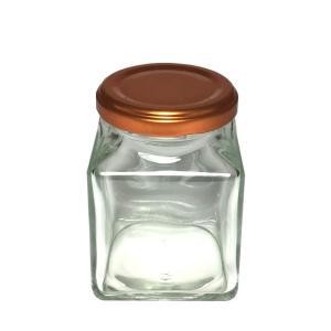 HARU COLLE 浮游花向け用品 ジャムガラスボトル ネジ式オレンジキャップ ハーバリウム用透明ボトル 角180ml空瓶|flowernana
