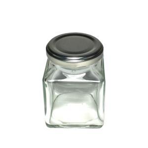 HARU COLLE 浮游花向け用品 ジャムガラスボトル ネジ式シルバーキャップ ハーバリウム用透明ボトル 角180ml空瓶|flowernana
