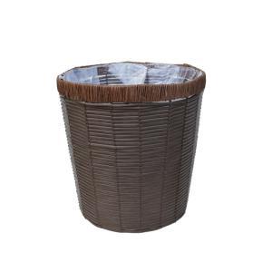 定番バスケット 茶PEカゴ 8寸丸タイプ 鉢カバー ブラウン 2-2008BR|flowernana