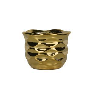 陶器 円形 フラワーベース 2117K ゴールド 花瓶|flowernana