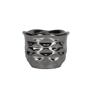 陶器 円形 フラワーベース 2117Q シルバー 花瓶|flowernana