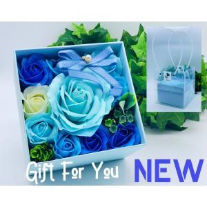 シャボンフラワーソープフラワーお花ギフト石鹸プレミアムローズボックスNo.5ブループレゼント|flowernana