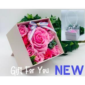 シャボンフラワー ソープフラワー お花ギフト 石鹸 プレミアムローズボックス No.2 ピンク プレゼント|flowernana