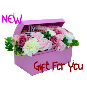 シャボンフラワー ソープフラワー お花ギフト 石鹸 アレンジボックス 大 No.2 ピンク プレゼント|flowernana