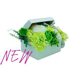 シャボンフラワー ソープフラワー お花ギフト 石鹸 アレンジボックス 小 No.4 グリーン プレゼント|flowernana