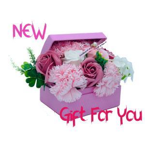 シャボンフラワー ソープフラワー お花ギフト 石鹸 アレンジボックス 小 No.2 ピンク プレゼント|flowernana