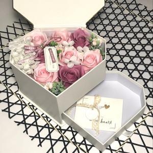 シャボンフラワー ソープフラワー お花ギフト 石鹸 ジュエリーBOX ピンク プレゼント|flowernana